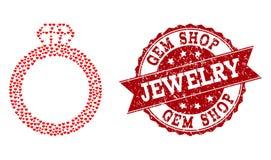 Composição do coração do amor de Gem Ring Icon e do selo de borracha ilustração royalty free