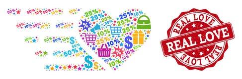 Composição do coração do amor do mosaico e de selo Textured para vendas ilustração do vetor