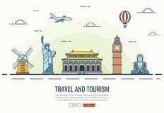 Composição do curso com os marcos famosos do mundo Curso e turismo Molde do Web site do conceito Vetor Imagens de Stock Royalty Free