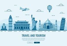 Composição do curso com os marcos famosos do mundo Curso e turismo Molde do Web site do conceito Vetor Imagem de Stock