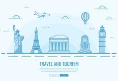 Composição do curso com os marcos famosos do mundo Curso e turismo Molde do Web site do conceito Vetor Fotos de Stock