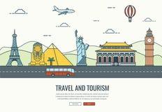 Composição do curso com os marcos famosos do mundo Curso e turismo Molde do Web site do conceito Vetor Fotografia de Stock Royalty Free