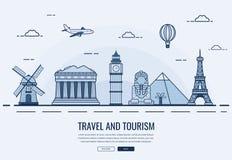 Composição do curso com os marcos famosos do mundo Curso e turismo Molde do Web site do conceito Vetor Foto de Stock