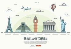 Composição do curso com os marcos famosos do mundo Curso e turismo Molde do Web site do conceito Vetor Foto de Stock Royalty Free