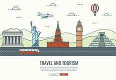 Composição do curso com os marcos famosos do mundo Curso e turismo Molde do Web site do conceito Vetor Fotos de Stock Royalty Free