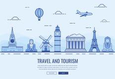 Composição do curso com os marcos famosos do mundo Curso e turismo Molde do Web site do conceito Vetor Fotografia de Stock
