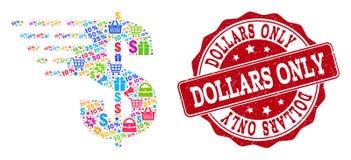 Composição do dólar do mosaico e do selo da aflição para vendas ilustração royalty free