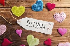 Composição do dia de mães, corações da tela Tiro do estúdio, de madeira, CCB Imagem de Stock Royalty Free
