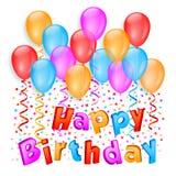 Composição do feliz aniversario com balões e confetes ilustração royalty free