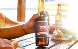 Composição do feriado com as garrafas múltiplas da cerveja e dos cachorros quentes, bandeira americana Grupo de pessoas que comem Imagem de Stock