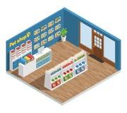 Composição do interior da loja de animais de estimação ilustração royalty free