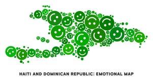 Composição do mapa de Joy Haiti And Dominican Republic do vetor dos smiley ilustração do vetor