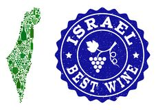 Composição do mapa do vinho da uva de Israel e do melhor selo do Grunge do vinho ilustração do vetor