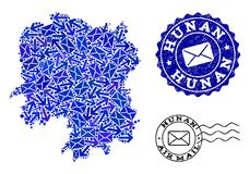 Composi??o do movimento do cargo do mapa de mosaico da prov?ncia de Hunan e de selos Textured ilustração do vetor