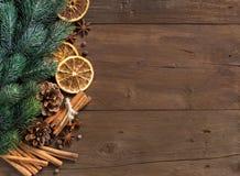 Composição do Natal com especiarias Imagens de Stock Royalty Free