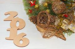 Composição do Natal com figuras 2016 Imagens de Stock Royalty Free