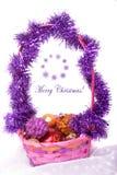 Composição do Natal com uma cesta Imagem de Stock Royalty Free