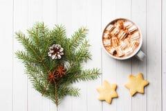 Composição do Natal Cookies do chocolate quente, ramos do pinho, varas de canela, estrelas do anis Natal, conceito do inverno Con imagem de stock royalty free