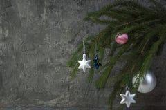 Composição do Natal de ramos do abeto e de bagas do viburnum em um fundo concreto Imagens de Stock Royalty Free