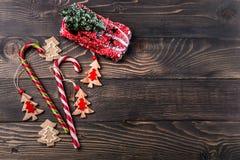 Composição do Natal e do ano novo Configuração lisa, vista superior, fundo do espaço da cópia imagens de stock royalty free