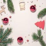Composição do Natal Filiais de árvore do Natal imagens de stock royalty free