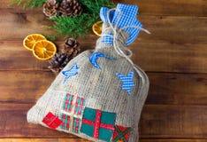 Composição do Natal no estilo rústico Imagens de Stock Royalty Free
