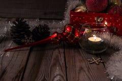 Composição do Natal no fundo de madeira Fotografia de Stock