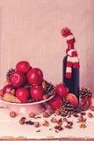 Composição do Natal Os ingredientes para o vinho ferventado com especiarias Imagem a Fotos de Stock Royalty Free