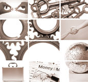 Composição do negócio e dos trabalhos de equipa Foto de Stock