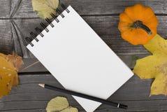Composição do outono com caderno vazio as folhas e a abóbora caídas Imagens de Stock Royalty Free