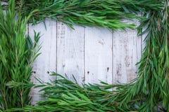Composição do outono das folhas, das flores e das bagas na parte traseira de madeira Imagem de Stock