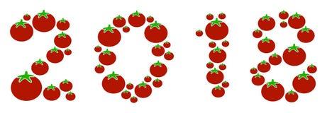 Composição do texto de 2018 anos do tomate Imagem de Stock Royalty Free