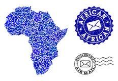 Composição do tráfego de correio do mapa de mosaico de África e de selos Textured ilustração royalty free