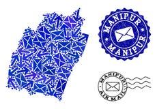 Composição do tráfego de correio do mapa de mosaico de selos do estado e do Grunge de Manipur ilustração do vetor