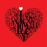Composição do typography da forma do coração Foto de Stock Royalty Free