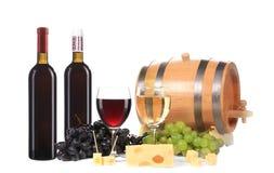 Composição do vermelho e do branco de vinho. Fotografia de Stock Royalty Free