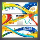 A composição do vetor de uma onda das faixas com cores diferentes é entrelaçada que inclui símbolos do esporte ilustração do vetor