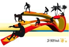 Composição do vetor dos surfistas ilustração royalty free