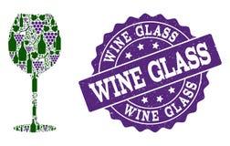 Composição do vidro de vinho de garrafas de vinho e de uva e de selo do Grunge ilustração royalty free