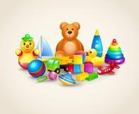 Composição dos brinquedos das crianças Foto de Stock