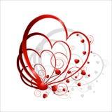 Composição dos corações com um ornamento ilustração do vetor
