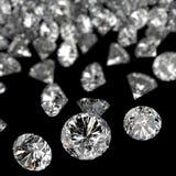 Composição dos diamantes 3d no preto Foto de Stock Royalty Free