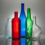 Composição dos frascos de vidro da cor Foto de Stock