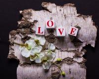 Composição dos tijolos 3d com as letras que formam o amor e o orch da palavra Foto de Stock