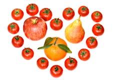 Composição dos tomates e das frutas Fotos de Stock Royalty Free