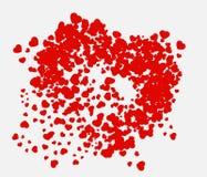 Composição dos Valentim dos corações Ilustração do vetor com corações vermelhos no branco Fotos de Stock Royalty Free