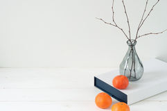 Composição elegante mínima com tangerinas e vaso Imagens de Stock Royalty Free