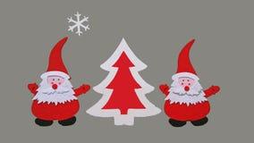 Composição feito a mão do Natal Desenho da árvore de Santa Claus e do ano novo feita de partes coladas de feltro e de madeira com imagem de stock