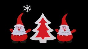 Composição feito a mão do Natal Desenho da árvore de Santa Claus e do ano novo feita de partes coladas de feltro e de madeira com imagem de stock royalty free