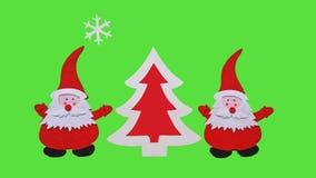 Composição feito a mão do Natal Desenho da árvore de Santa Claus e do ano novo feita de partes coladas de feltro e de madeira com fotografia de stock